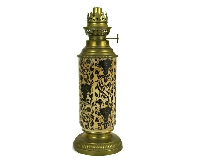French Antique Oil Lamp with Vieillard Bordeaux Ceramic Base and Brass Lamp Fixture by Gaudard. Banquet Lamp.