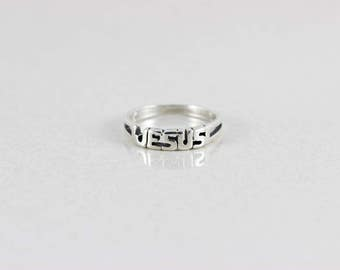Sterling Silver Christian Religious Jesus band Ring size 8 1/2