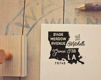 Louisiana Return Address State Stamp - Personalized Rubber Stamp