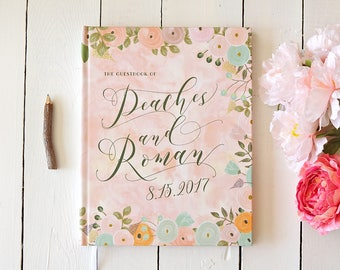 Boho Pastel Wedding Guest Book • Watercolor Peach Flowers Boho Summer Wedding Custom Guest Book • Personalized Floral Guestbook • 8 x 10