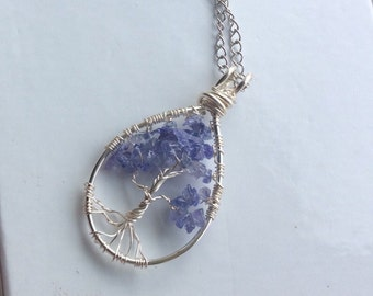 Tanzanite Tree of Life Wire wrapped Pendant Necklace Genuine natural Gemstone crystal Gift for her birthday mothers day December birthstone