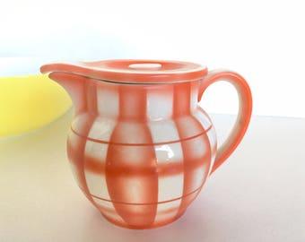 Erphila Czech Cream Milk Pitcher Ceramic Orange Stripes