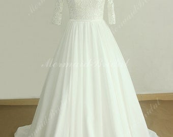 Romantic vintage middle sleeve chiffon lace wedding dress with deep V neckline