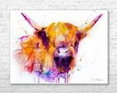 Highland Cow watercolor painting print by Slaveika Aladjova, animal art, illustration,wall art, home decor, gift, Giclee Print, Cow, farm