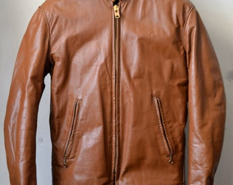 Vintage Tan CAFE RACER Leather Jacket Size 36 S Small XS Extra Small Talon Zipper Schott Style