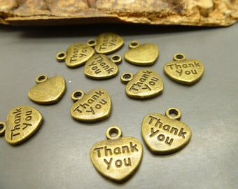 10 Antique Bronze Thank you Charms  -  Jewelry Making or Scrapbooking Charms  -MC1220