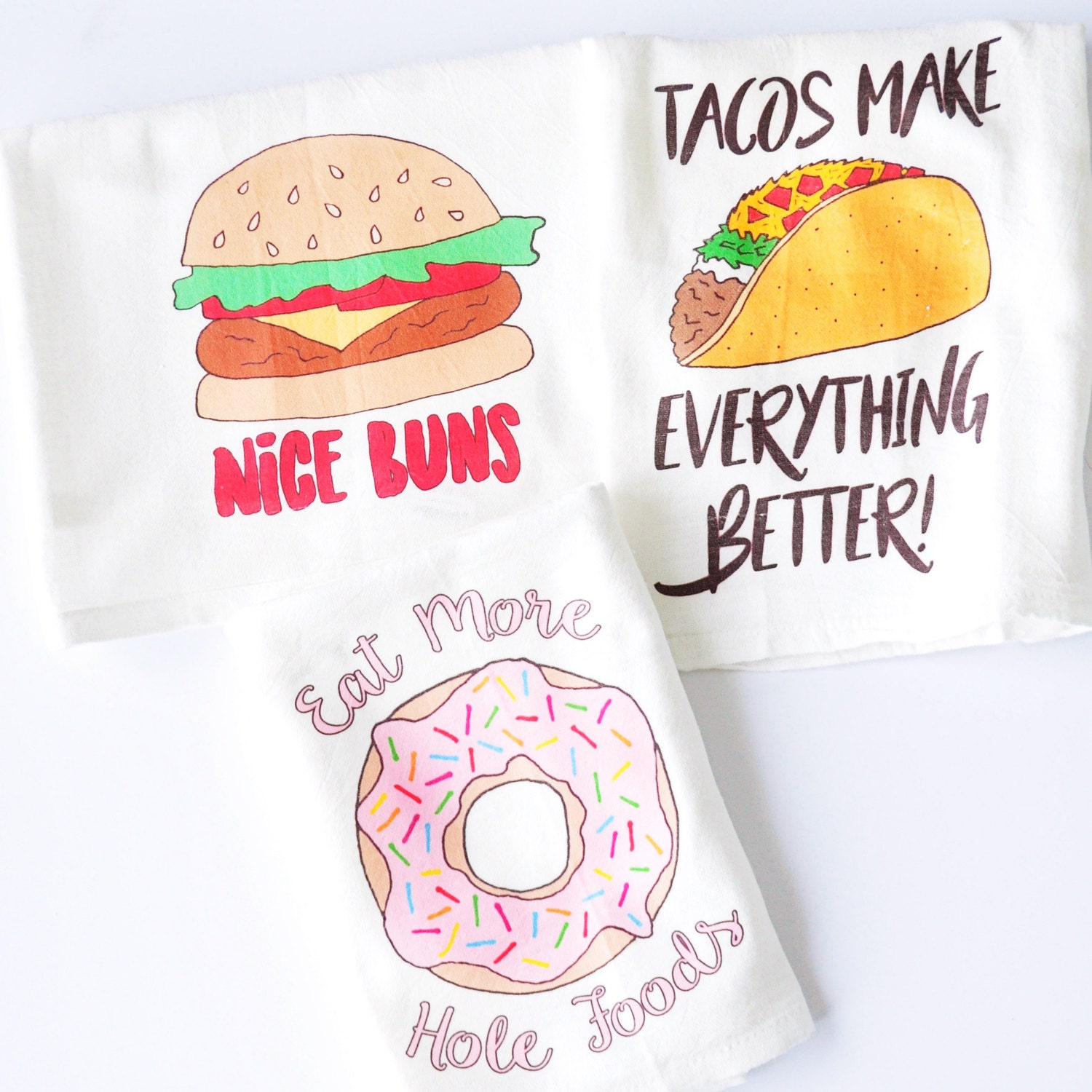 set of 3 dish towels taco donut burger tea towels nice buns
