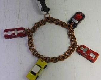 Handmade double link 14 gauge copper micro mini race car Charm  bracelet.