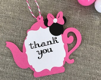 Minnie Mouse thank you tag - tea party thank you - tea party accessory -