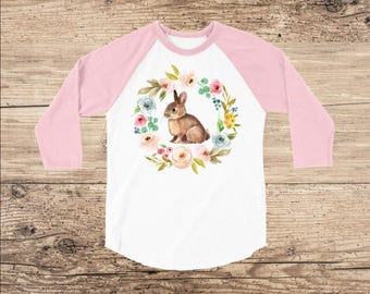 Easter Shirt with Sweet Bunny and Vintage Flowers