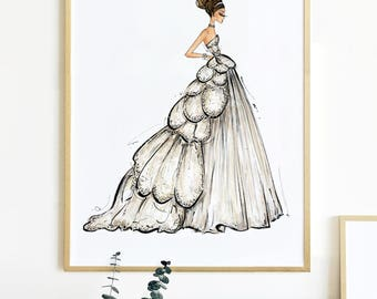 "16x20"" Gold Framed Fashion Illustration Print, Dior"