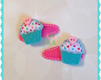 Girls Cupcake Hair Clips - Girls Hair Accessories - Snap Clips - Alligator Clips - Birthday Party Accesssories -