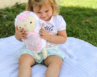 Personalized Lamb - Stuffed animal - Monogram Lamb- Plush Lamb - Personalized Baby Gift - Baby Shower gift - Easter gift - Easter Lamb