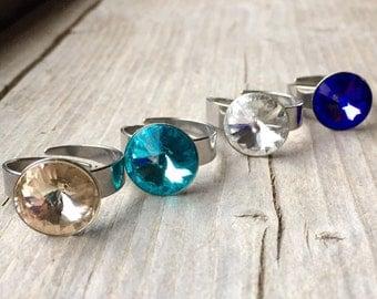 SPECIAL Adjustable Swarovski Crystal 12mm Rivoli Rings - You Choose Color