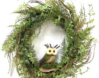 Owl Wreath, Spring Wreath, Owl Floral, Fern Wreath, Rustic Wreath, Woodland Wreath, Garden Wreath, Ferns, Natural Wreath, Summer Wreath