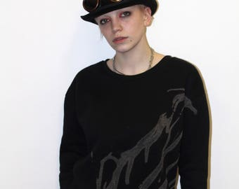 Grunge black hand bleached jumper