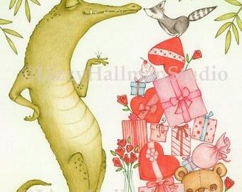 "I Love You 8x10"" Print of original colored pencil illustration"