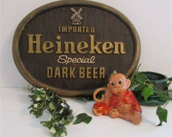 Vintage Bar Decor, Bar Sign, Man Cave Sign, Vintage Sign, Heineken Dark Beer Sign, Wall Sign, 3 D Plastic Bar Sign, Bar Decor, Game Room