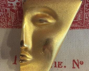 Matte Gold Tone Modern Face Brooch Pin