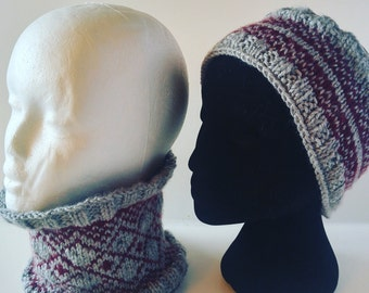 KNIT PATTERN: Fair Isle Ear + Neck Warmer Set of 2. Like a scarf only better. English + French Instructions