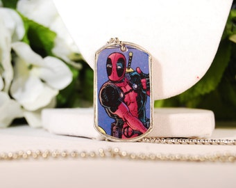 Deadpool Dog Tag Necklace OOAK