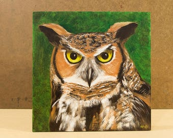 Great Horned Owl Painting, Original Oil, Woodland Art