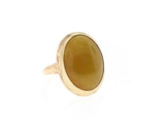 Vintage Jade Ring, Yellow Gold Jade Ring, Yellow Jade Ring