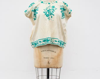 vintage 1960s turquoise mexican embroidered tunic | S/M