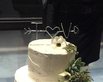 Custom Wire Initial Wedding Cake Topper, Custom Cake Topper, Wire Cake Topper, Wedding Cake Topper, Initials Cake Topper, Arrow Cake Topper