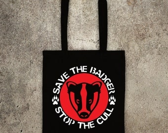 SAVE THE BADGER stop the cull tote shopper bag vegan veggie animal rights alf protest shopping