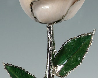 Real Rose Dipped in Platinum - Gift for Her - Pearl White