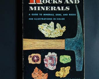 1957 Rocks and Minerals Guide Book Gems Crystals Amethyst Diamonds Citrine Jade Opal