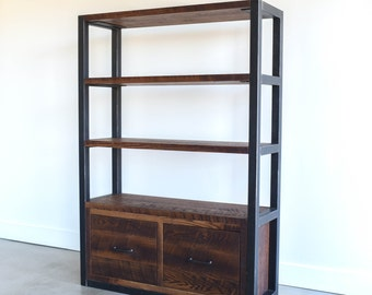 Industrial Bookcase With Drawers / Steel Frame + Reclaimed Wood Shelving Unit