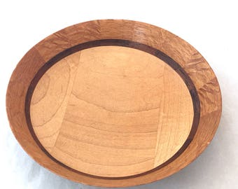 Round Maple, Walnut, Cherry Segmented Bowl, Multi Wood Inset Dish, Segmented Inlay Rim, Inlayed Pieced Wooden Bowl, Candy Coin Trinket Dish