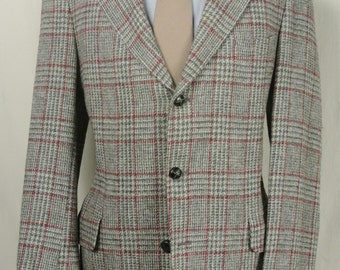 Jos. A. Bank Gray/Red Glen Check Wool Three Button Sport Coat Men's Size: 40L