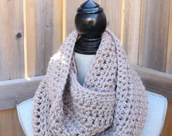"Soft and Chunky 60"" Crochet Infinity Scarf in Oatmeal"