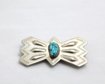 Turquoise and Sterling Silver Navjo Native American Southwest  Scarf Holder