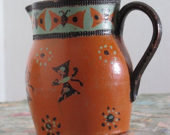 French vintage pichet, handpainted with butterfly pattern