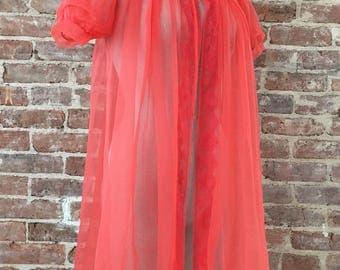 M / Watermelon Red Peignoir / Chiffon Robe / Sheer Negligee / FREE USA Shipping