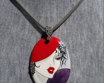 Red Purple Necklace - Ceramic Jewelry Handpainted Necklace - Art Jewelry -Short Necklace -Unique Necklace -Gift For Women Red Purple Jewelry