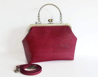 Burgundy Cork Handbag, Vegan Bag, Handmade Genuine Cork Purse, Gift for Women, Ready to ship