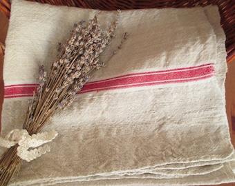 225. Flax linen towel, vintage organic linen towel, homespun pure flax linen towel, handwoven guest towel from 1940s (unused)