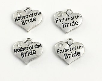 4 bride father and mother charms antique silver, 20mm x 22mm #CH 391