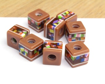 Vintage Acrylic Mosaic Cube Beads Very Unique 10mm 12pcs