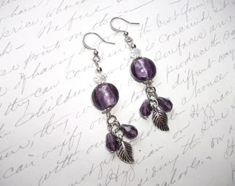 Purple Murano glass drop earrings with leaf and crystals