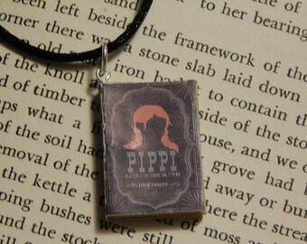 Pippi Longstocking Book Necklace, Brooche, or Keychain