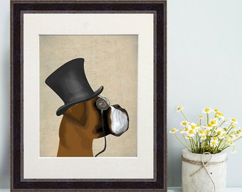 Boxer dog gift Formal Boxer Print funny dog art dog with hat boxer poster unique gifts for men gifts for dad anniversary gifts for boyfriend