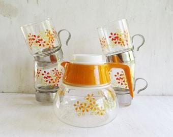 Vintage Daisy Sasaki Coffee/tea Carafe with Cups 5 Piece Set- Retro Coffee serving set. Sasaki Hardstrong
