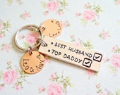 Fathers Day Gift for Daddy, Best Husband and Top Daddy Keyring, Personalised, Gift from Children, Birthday Gift, For Dad, Kids Names