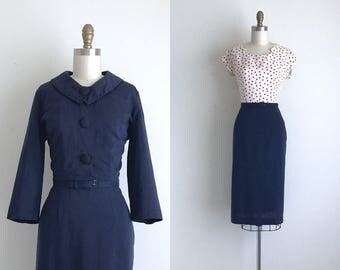 "1950s Dress / Vintage 1950s Day Dress / Navy Rayon Dress and Jacket 27.5"" Waist"